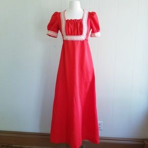 1970s ILGWU Red, Poly Gown